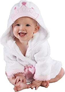 Hooyi Baby Little Princess Crown Towel Albornoz con capucha para spa (blanco, S (90 cm)