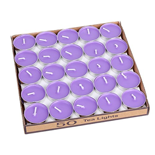 LANKER 50 Pack Mini Tea Lights Candles - Unscented - Smokeless - 2 Hour Burn Time - Decoration for Wedding, Party, Dating and Festival Celebration (Purple)