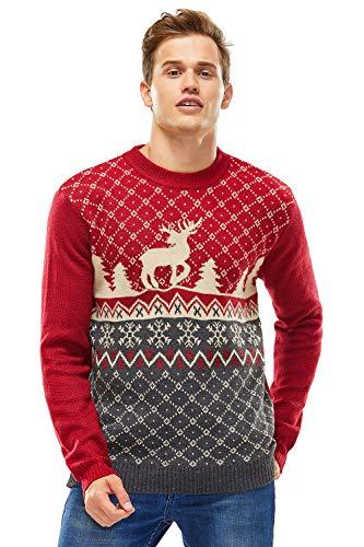 Damen Weihnachtspullover Lustig Unisex Hässliche Pulli Strickpullover Ugly Weihnachtspulli mit weihnachtlichen Motiven für Damen Herren Weihnachtsparty, L, Der Stil Standard-rot