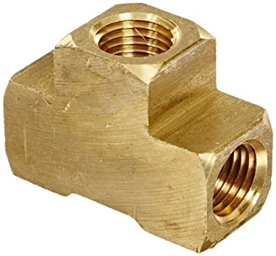 """Anderson Metals 56101-04 Brass Pipe Fitting, Barstock Tee, 1/4"""" x 1/4"""" x 1/4"""" NPT Female Pipe"""