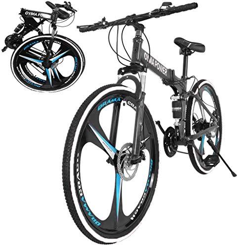 26 Inch Bikes Folding Bicycle Mountain Bike Dual Disc Brake, 21-Speed, Lightweight and Durable for Men Women Bike (Black)