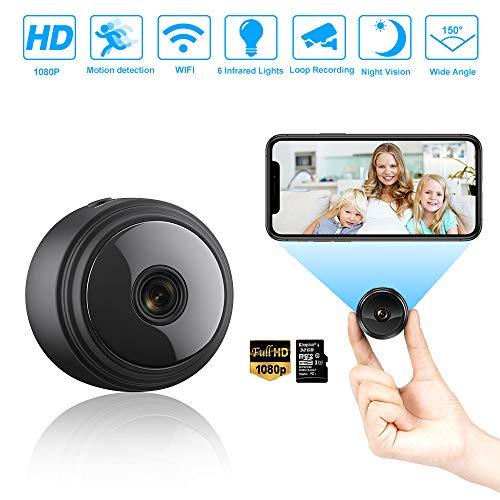 Mini Kamera, 1080P HD WiFi Überwachungskamera mit Nachtsicht-Bewegungserkennung, für den Innen- und Außenbereich mit 32G SD-Karte, Kleine Videokamera APP zur Überwachung