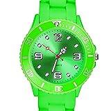 Taffstyle Farbige Sportuhr Armbanduhr Silikon Sport Watch Damen Herren Kinder Analog Quarz Uhr 43mm Grün