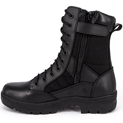 WIDEWAY Men's 8'' Inch Military Tactical Boots Full Grain Leather Police Duty Water Resistant Boots with Side Zipper, Black