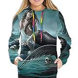 LLOOP - Sudadera con capucha para niñas y mujeres Fantástica sirena y calaveras XL