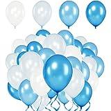 Premium Luftballons – Heliumluftballons Metallic • 50 Stück • 4 Farben • Weiß, Babyblau, Blau, Royalblau • XL Größe, Metallic Luftballons dienen als Deko für Hochzeit, Geburtstag • extra reißfest