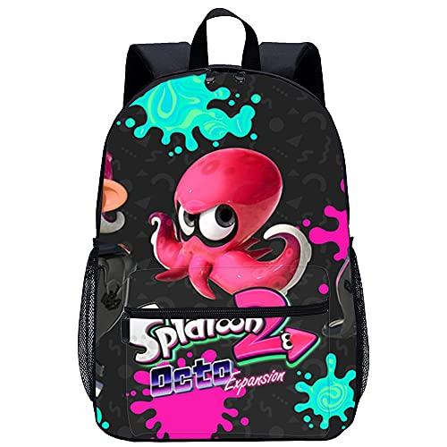 Splatoon Game characters Mochila escolar, mochila para computadora portátil para niños y niñas, compatible con computadora portátil de 15,6 pulgadas, mochila ligera unisex