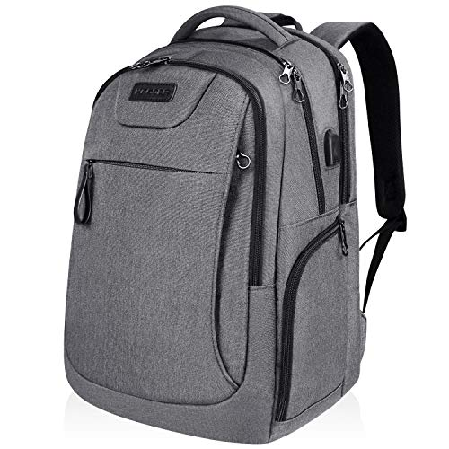 KROSER Laptop Backpack 17.3 Inch Large Computer Rucksack Anti-Theft Travel Business Backpack with USB Charging Port Water-Repellent College School Daypack for Men/Women-Grey