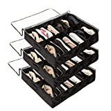Surblue Under Bed Shoe Organizer Storage Bag with Transparent Skylight and Zippered,12 Pairs,Black 3 PCS