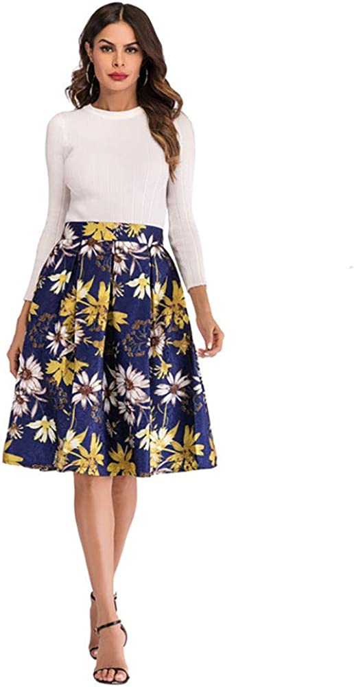 Womens Casual Elastic High Waist Floral Maxi Midi Long Flared Pleated Knee Skirt