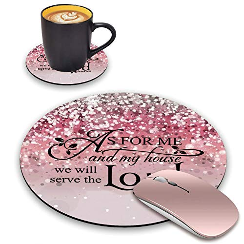 BWOOLL Round Mouse Pad and Coasters Set, Pink Glitter Mouse Pad, Quote Christian Bible Verses Joshua 24:15 Mouse Pad, Non-Slip Rubber Base Mouse Pads for Laptop and Computer