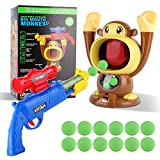 FiGoal Hungry Feeding Game (Monkey) Toy Guns for Boys/Girls, Shooting Games with Electronic Target, Party Cool Toys with LCD Score Record, Sound, 12 Soft Foam Balls, for Kids Age 3-10