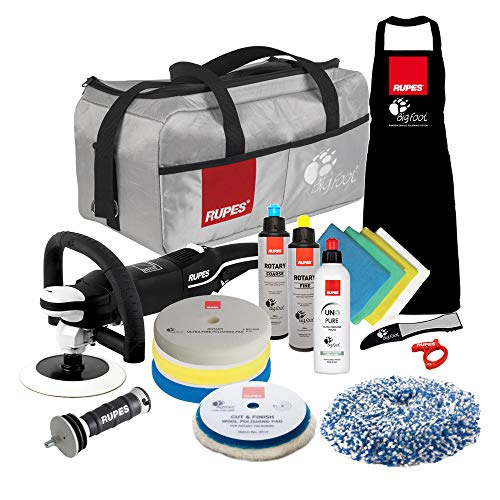 The Clean Garage Rupes LH19E Rotary Polisher Complete Kit   Bigfoot Buffer Bag Pads Compound Combo