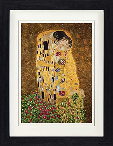 1art1 Gustav Klimt - Der Kuß II Gerahmtes Bild Mit Edlem Passepartout | Wand-Bilder | Kunstdruck Poster Im Bilderrahmen 40 x 30 cm