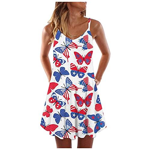 liulangzhe No1 Ärmellose Weste mit dünnem Schultergurt und V-Ausschnitt für Damen Bedrucktes Kleid für den Unabhängigkeitstag Mittellanges, lockeres Usa-Flaggen-Schmetterlings-Regenbogenrock
