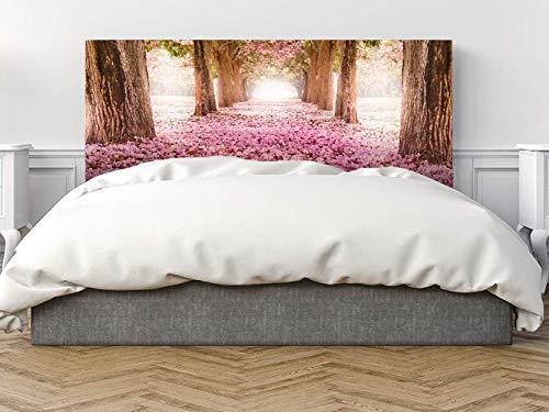 Cabecero Cama PVC Árboles con Flores Rosas 135x60cm | Disponible en Varias Medidas | Cabecero Ligero, Elegante, Resistente y Económico