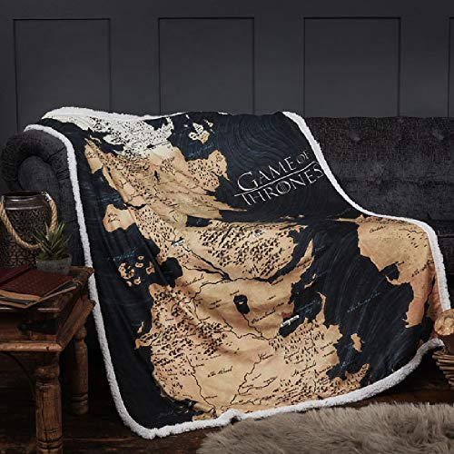 Dreamtex Juego de Tronos - Manta del Mapa de Westeros de 120 x 150 cm 200/210GSM