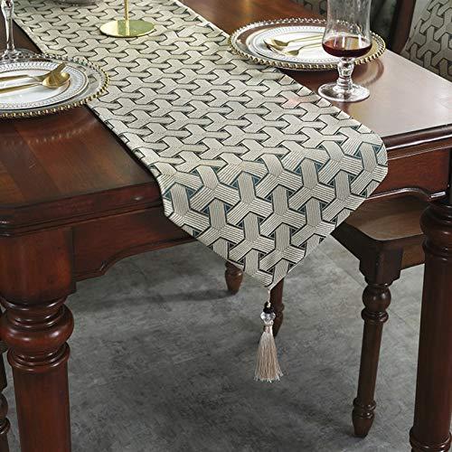 QL Table Runner Moderno camino de mesa hecho a mano, elegante camino de mesa Jacquard con borlas para cena/cocina/fiesta/lino tejido esterillas de comedor, gris (color: gris, tamaño: 32 x 180 cm)