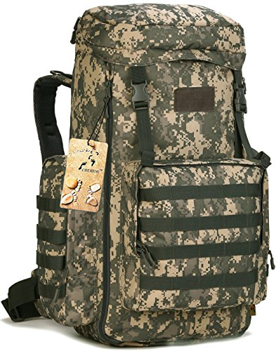 70-85L Large Capacity Tactical Travel Backpack MOLLE Hiking Rucksack Outdoor Travel Bag Assault Pack for Travelling Trekking Camping Hiking Hunting & Sports Events - ACU Digital