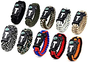 Kissmi 10 Pack Paracord Bracelet Survival Gear with Compass, Fire Starter, Whistle And Emergency Knife,Best Wildness Survival -Kit for Camping/Hiking