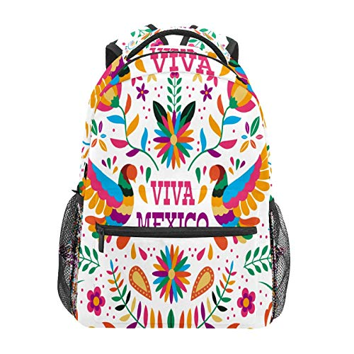 School Backpack Viva Mexico Fall Flower Leaf Grass Floral Casual Travel Laptop Daypack Canvas Book Bags for Woman Girls Boys Student Adult Men