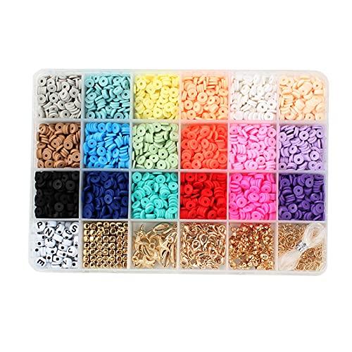 Kit de bricolaje de joyería de cuentas de arcilla para hacer pulseras con cuerda elástica, cuentas de cerámica de colores para hacer joyas, pulseras, collares y llaveros