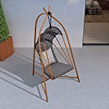PURPLE LEAF Hammock Chair Swing with Stand, Outdoor Patio Porch Hanging Egg Chair for Bedroom, Indoor Swing Chair, Cushions Included, Coffee