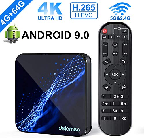 Android 9.0 TV Box, Dolamee 4GB RAM 64GB ROM D22 Quad-Core 64bits Dual-WiFi 2.4G/5.0G, Support 3D Ultra HD 4K H.265 USB 3.0 HDMI 2.0a Bluetooth Smart Box