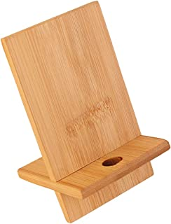 Suporte de telefone celular de bambu para mesa, suporte resistente para telefone com orifício de carregamento para todos o...