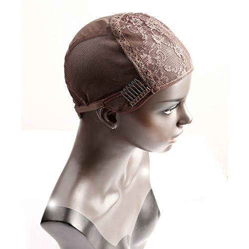 Bella Hair Glueless Wig Caps for Making Wigs with Combs and Adjustable Straps Swiss Lace Brown Medium Size