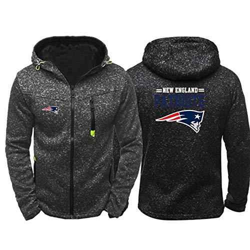 SHR-GCHAO NFL Jerseyhoodie New England Patriots, Fußball Kleidung Langarm-Beiläufige Bequeme Sweatshirt, Angenehm Zu Tragen - Schwarz,XXXL