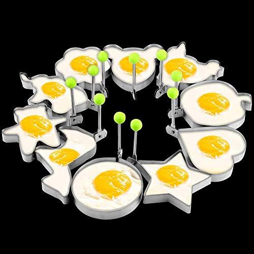 10 Pack Stainless Steel Fried Egg Rings Set Egg Form Mold Egg Shaper Pancake Maker Egg Pancake Ring Mold Frying Cooking Tools for Griddle Pan