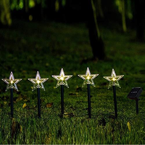 5er Set Sterne Weihnachtsbeleuchtung Weihnachtsbaum Solarleuchten Solar Gartenleuchte Energiesparend Wasserdicht LED Solarlampe für Terrasse, Rasen, Garten Hofwege und Wege (39cm)