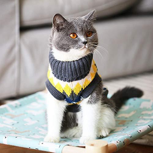 TAYIBO Invierno Perro Traje Caliente Ropa de Abrigo,Ropa para Gatos Mascotas, Gatitos británicos Cortos otoño e Invierno, suéter cálido de Cuello Alto - Amarillo Gris_S