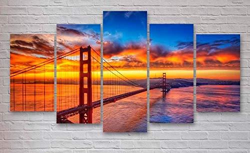 GONGXIANG-Quadro Decorativo per Soggiorno Ponte Golden Gate di San Francisco Moviegifts con Cornici Possono Essere Appesi (150 X 80 Cm)