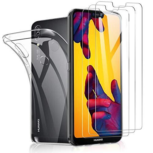 SHINEZONE Vetro Temperato per Huawei P20 Lite,(3 Pezzi+Cover) Copre lo Schermo Intero,[9H] Durezza,Anti-graffio,Pellicola Protettiva per Huawei P20 Lite