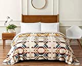 Pendleton Sherpa Fleece Reversible Blanket - King Size - Home Collection White Sands Multi Design - Inspired by New Mexico's White Sands National Park- Super Soft Blanket 112' by 92'
