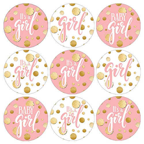 Pink and Gold Its a Girl Baby Shower Favor Stickers - 180 Labels