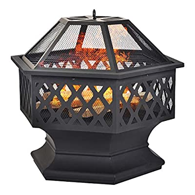 Fire Pit for Garden and Patio – Upgrade Black Steel Garden Heater/Burner for Wood & Charcoal,Able Use coal, Includes BBQ Grill?Spark Guard, Poker and Protective Cover (Hexagonal? by Lucakuins