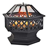 Fire Pit for Garden and Patio – Upgrade Black Steel Garden Heater/Burner for Wood & Charcoal,Able Use coal, Includes BBQ Grill,Spark Guard, Poker and Protective Cover (Hexagonal)