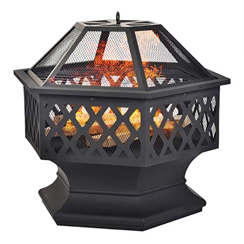 Lucakuins fire Pit for Garden and Patio with rain cover– Upgrade Black Steel Garden Heater/Burner for Wood & Charcoal, Includes BBQ Grill,Spark Guard, Poker and Protective Cover (Hexagonal)