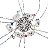 ACCTSY Best Friends Alloy 6 Color Inlaid Crystal BFF Pendant Necklace 6 Pcs/Set Stitching Pizza Necklace Jewelry