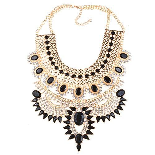 NABROJ Vintage Maxi Chunky Collar Necklace Black Gold Statement Necklace Crystal Big Choker Fashion Jewelry for Women-HL23 Black and Gold Crystal Bib Statement Necklace