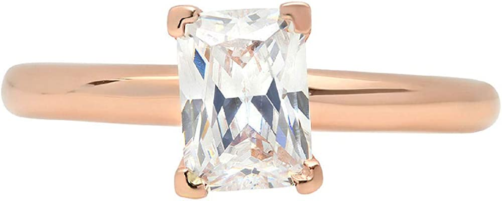 1 ct Brilliant Emerald Cut Flawless Stunning Genuine Clear Simulated Diamond Wedding Bridal Anniversary Engagement Promise Solid 18K Rose Gold Designer Proposal Solitaire Ring