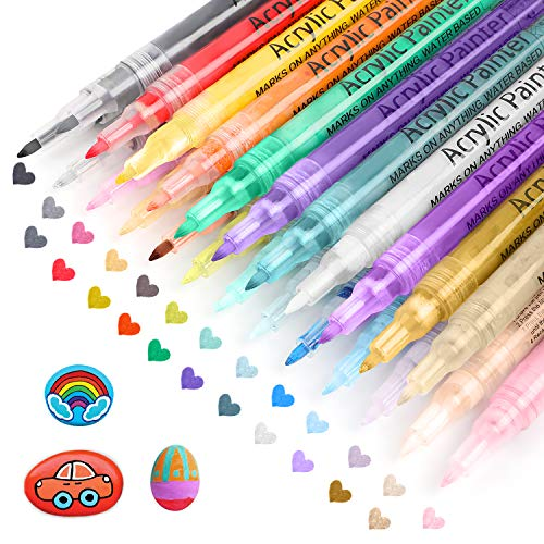 Acrylic Paint Pens 24 Colors Paint Markers for Rock Painting, Water Based, Extra Fine Tip Paint Pens for Canvas, DIY Craft, Fabric, Glass, Shoe, Ceramic, Wood, Mug, Metal, Stone, Non-Toxic Paint Pens