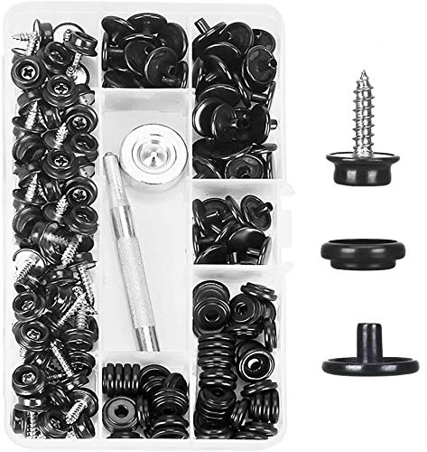 Kelife 150PCS Stainless Steel Marine Grade 3/8 Socket Canvas Snaps Kit and Upholstery Boat Cover Snap Button Fastener Tool with 2Pcs Setting Tool for Boat Cover Furniture(Black)
