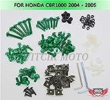 VITCIK Kit Completo de Tornillos y Pernos de Carenado para CBR 1000 RR 2004 2005 CBR 1000 RR 04 05 Clips de Sujeción en Aluminio CNC de La Motocicleta (Verde)