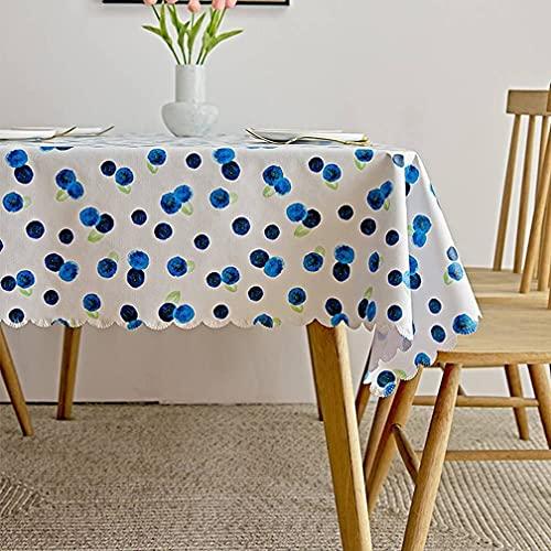 Tissu de 2 pièces Tapis de Table - Nappe en PVC résistant aux Taches résistantes à l'huile, Couverture de Table Lavable, pour la Cuisine, Pique-Nique,Blueberry,60x90cm