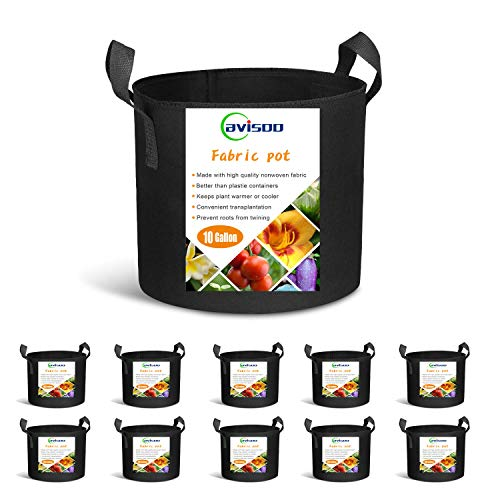 Cavisoo 10-Pack 10 Gallon Plant Grow Bags, Heavy Duty 300G Thickened Non-Woven Aeration Fabric Pots with Reinforced Handles