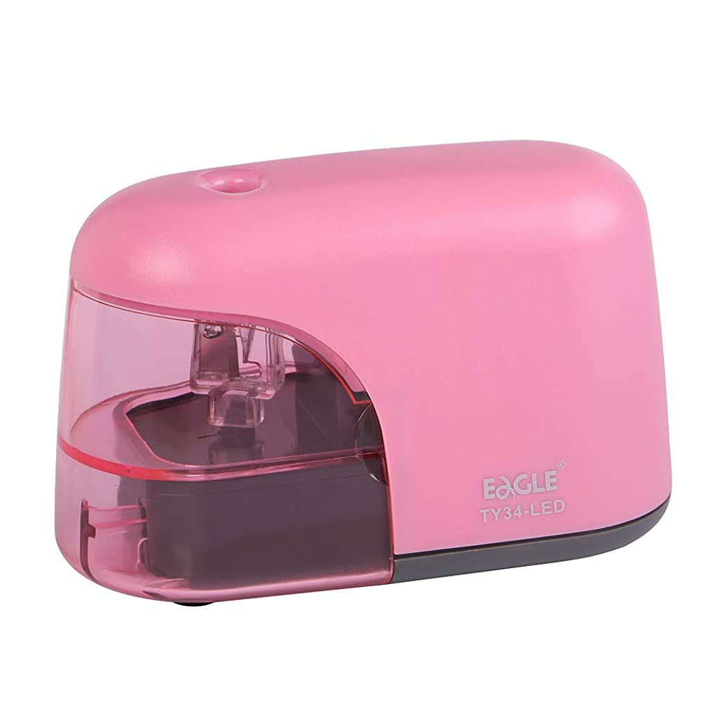 Eagle Battery Operated Electric Pencil Sharpener With LED Light Shining During Sharpening Pencil (Pink) rcletucpci